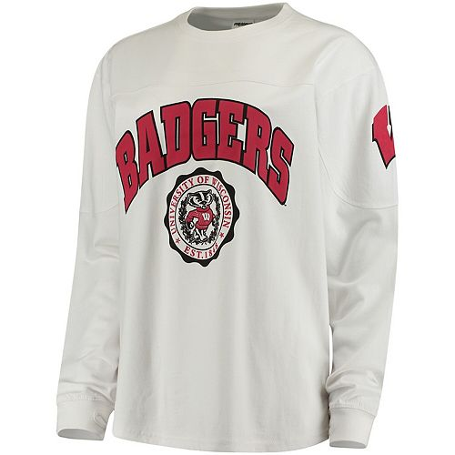 Women's White Wisconsin Badgers Edith Long Sleeve T-Shirt