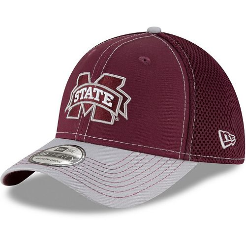 Men's New Era Maroon/Gray Mississippi State Bulldogs Team Front Logo Neo 39THIRTY Flex Hat