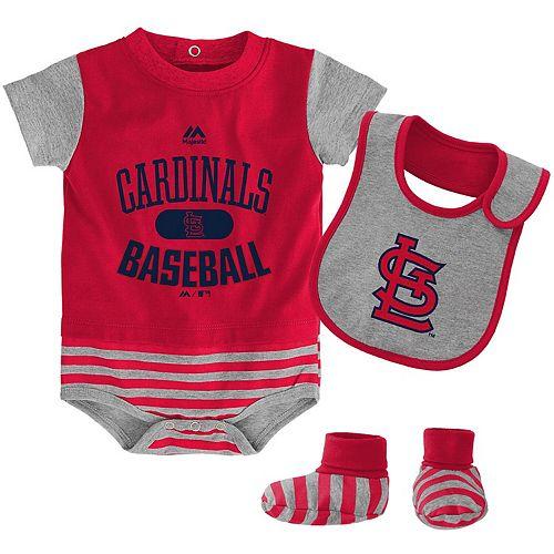 Newborn & Infant Majestic Red/Gray St. Louis Cardinals Baseball Property Bodysuit, Bootie & Bib Set