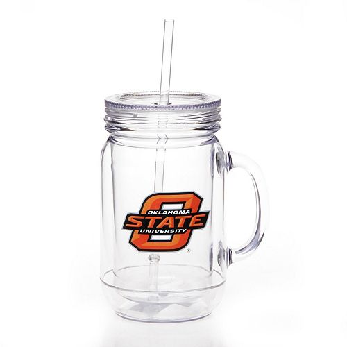 Oklahoma State Cowboys Double-Wall Plastic Mason Jar Mug with Straw