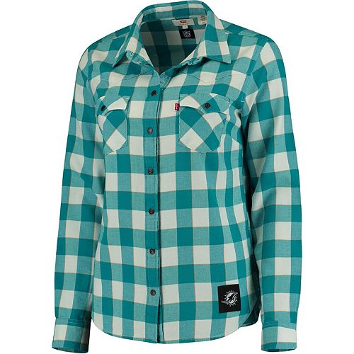 Women's Levi's Aqua Miami Dolphins Barstow Western Button-Up Long Sleeve Shirt