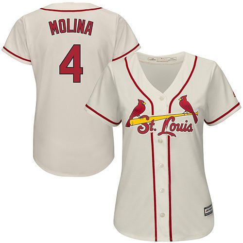 Women's Majestic Yadier Molina Ivory St. Louis Cardinals Alternate Cool Base Player Jersey