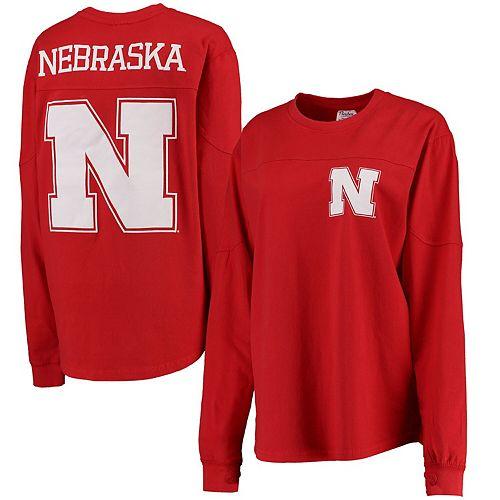 Women's Pressbox Scarlet Nebraska Cornhuskers The Big Shirt Oversized Long Sleeve T-Shirt