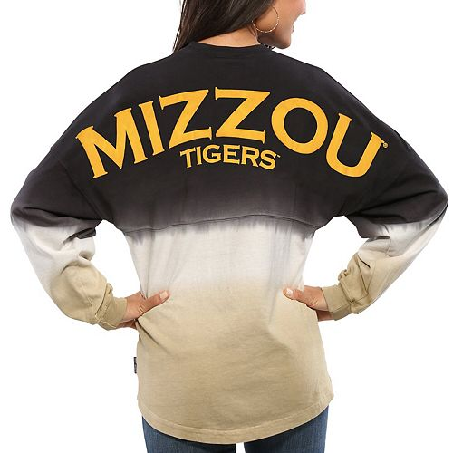Women's Black Missouri Tigers Ombre Long Sleeve Dip-Dyed Spirit Jersey