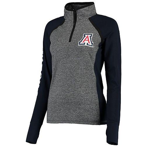 Women's Gray/Navy Arizona Wildcats Finalist Quarter-Zip Pullover Jacket