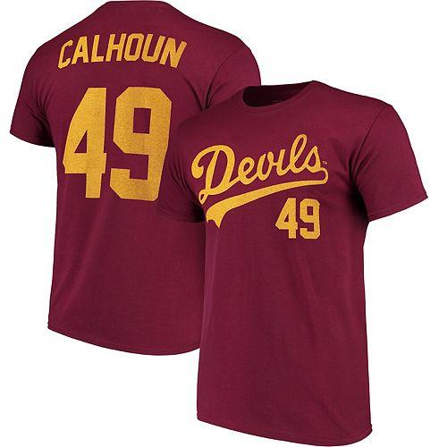 Men's Original Retro Brand Kole Calhoun Maroon Arizona State Sun Devils Baseball Name & Number T-Shirt