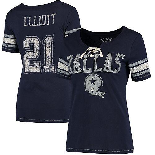 Women's Ezekiel Elliott Navy Dallas Cowboys Newcomb Player Name & Number T-Shirt