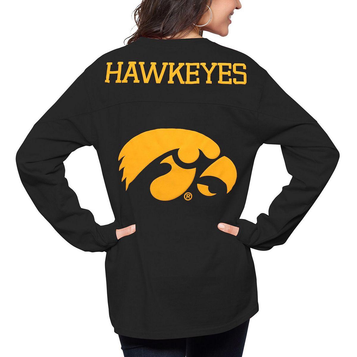 Women's Pressbox Black Iowa Hawkeyes The Big Shirt Oversized Long Sleeve T-Shirt GUuLc