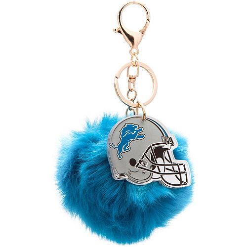 Cuce Blue Detroit Lions Faux Fur Pom Bag Charm and Keychain