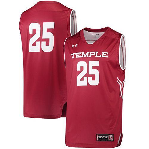 Men's Under Armour #25 Garnet Temple Owls Replica Performance Basketball Jersey