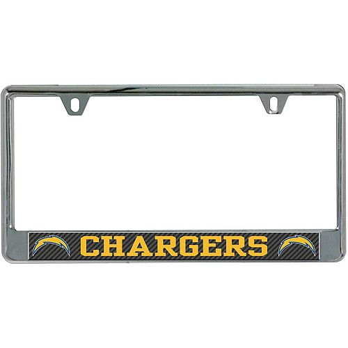 Los Angeles Chargers Carbon Bottom Only Metal Acrylic Cut License Plate Frame