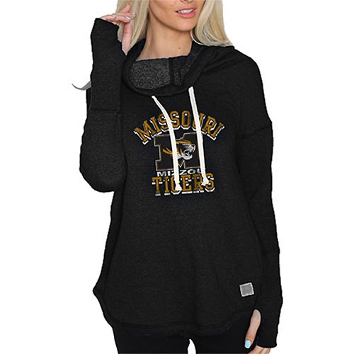 Women's Original Retro Brand Black Missouri Tigers Funnel Neck Pullover Sweatshirt