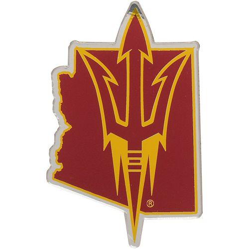 Arizona State Sun Devils State Shape Acrylic Metallic Auto Emblem