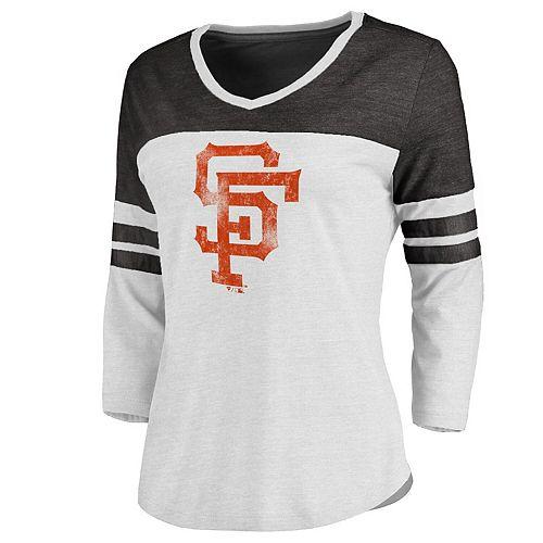 Women's White/Black San Francisco Giants Two Tone Cooperstown Three-Quarter Sleeve Tri-Blend T-Shirt
