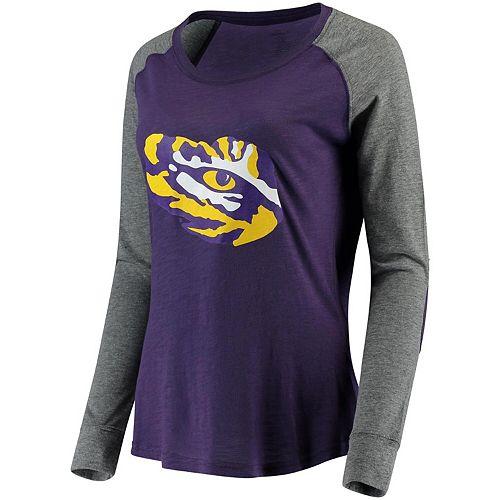 Women's Purple LSU Tigers Preppy Elbow Patch Slub Long Sleeve T-Shirt