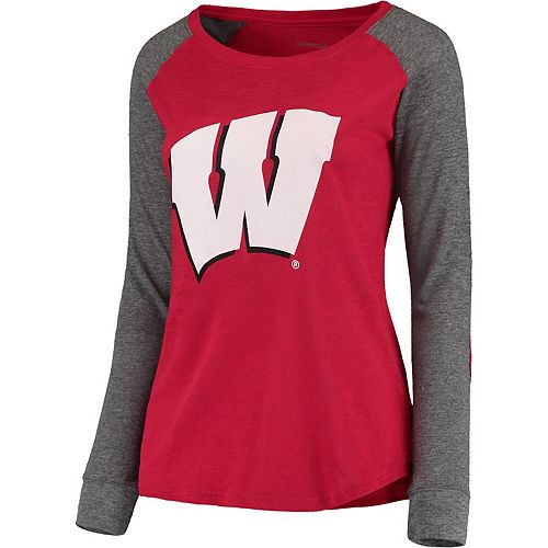 Women's Red/Gray Wisconsin Badgers Preppy Elbow Patch Slub Long Sleeve T-Shirt