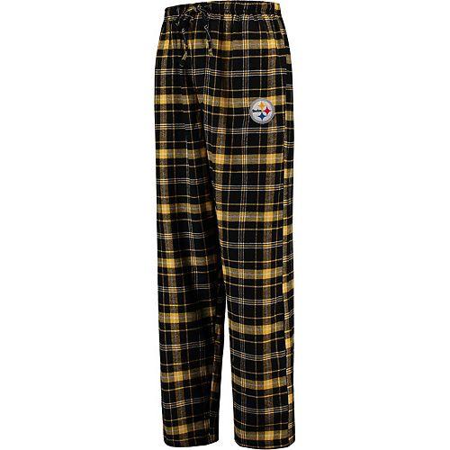 Men's Concepts Sport Black Pittsburgh Steelers Ultimate Plaid Flannel Pajama Pants