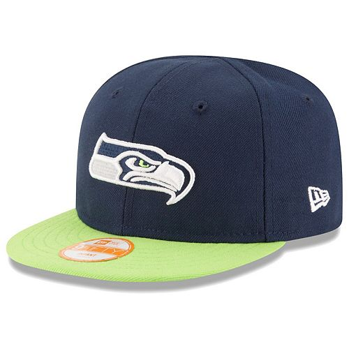 Infant New Era College Navy/Neon Green Seattle Seahawks My 1st 9FIFTY Snapback Adjustable Hat