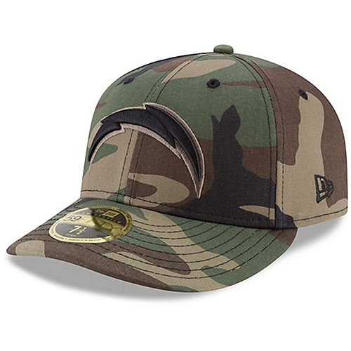 Men's New Era Los Angeles Chargers Woodland Camo Low Profile 59FIFTY Fitted Hat