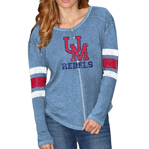 Women's Original Retro Brand Light Blue Ole Miss Rebels Sleeve Striped Henley Long Sleeve T-Shirt