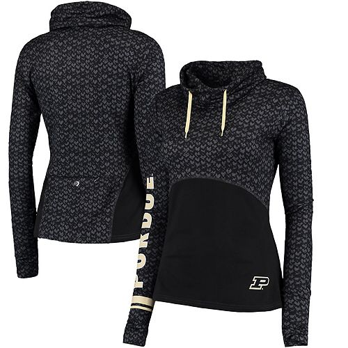 Women's Colosseum Black Purdue Boilermakers Scaled Cowl Neck Pullover Hoodie