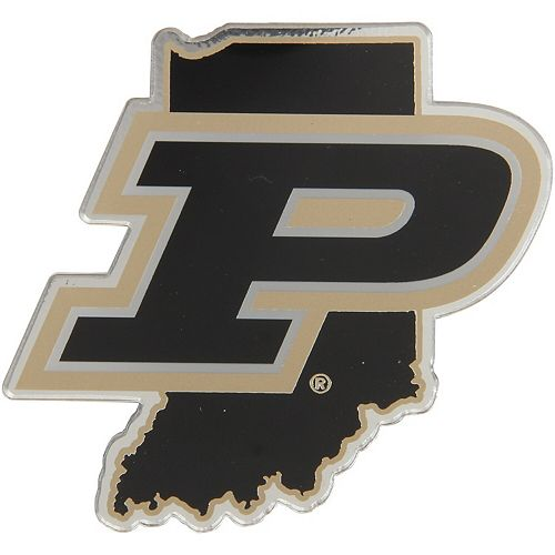 Purdue Boilermakers State Shape Acrylic Metallic Auto Emblem