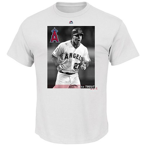 Men's Majestic Mike Trout White Los Angeles Angels Believe In The Game T-Shirt