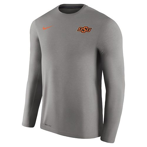 Men's Nike Charcoal Oklahoma State Cowboys 2017 Coaches Touch Performance Long Sleeve T-Shirt