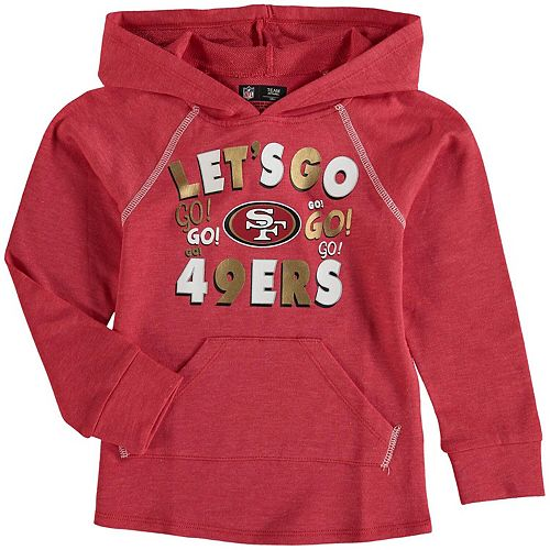 Girl's Youth 5th & Ocean by New Era Scarlet San Francisco 49ers Let's Go Pullover Hoodie