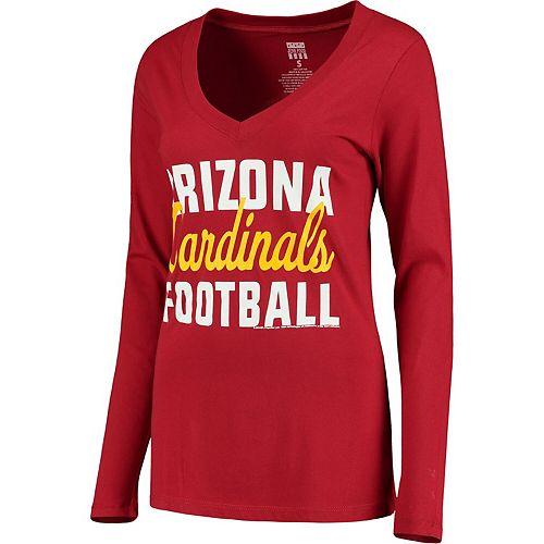 Women's Cardinal Arizona Cardinals Blitz 2 Hit V-Neck Long Sleeve T-Shirt