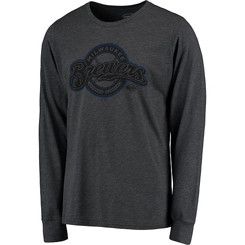 Men's Majestic Threads Graphite Milwaukee Brewers Tri-Blend Long Sleeve T-Shirt