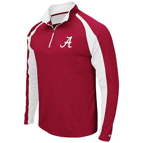 Men's Colosseum Heathered Crimson Alabama Crimson Tide The J. Peterman Quarter-Zip Pullover Jacket