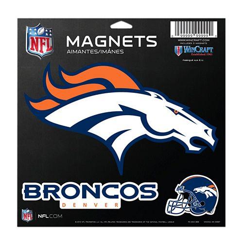 Denver Broncos 11'' x 11'' 3-Pack Vinyl Magnets