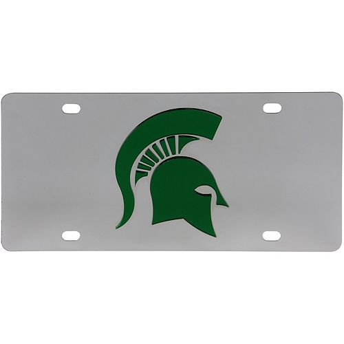 Michigan State Spartans Stainless Steel Laser-Cut Acrylic License Plate