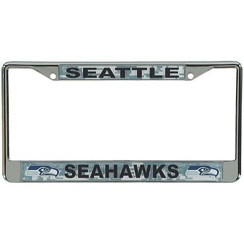 Seattle Seahawks Digi Camo License Plate Frame with Black Letters
