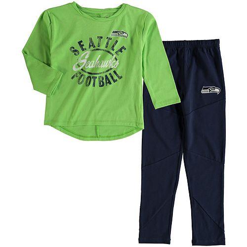 Girl's Preschool Neon Green Seattle Seahawks Fan Gear Football Sweetheart Long Sleeve T-Shirt and Pant Set