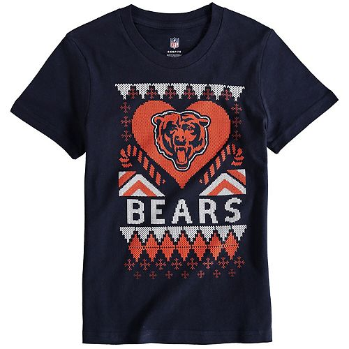 Girl's Youth Navy Chicago Bears Candy Cane Love T-Shirt