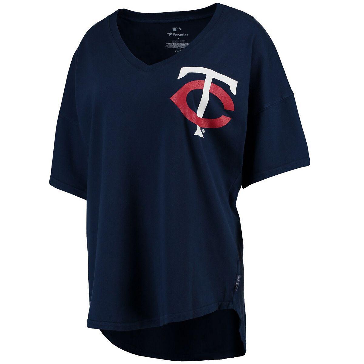 Women's Navy Minnesota Twins Oversized Spirit Jersey V-Neck T-Shirt HyI0d