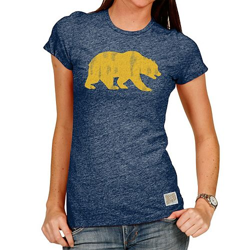 Women's Original Retro Brand Heathered Navy Cal Bears Tri-Blend Crew Neck T-Shirt