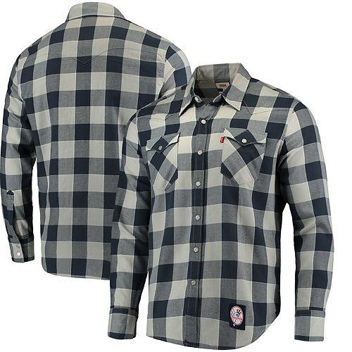 Men's Levi's Navy New York Yankees Western Long Sleeve Button-Up Shirt