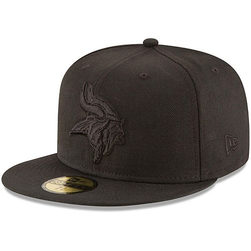 Men's New Era Minnesota Vikings Black on Black 59FIFTY Fitted Hat