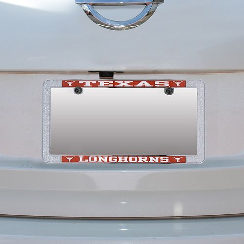 Texas Longhorns Metal Thin Rim Acrylic Laser-Cut License Plate Frame