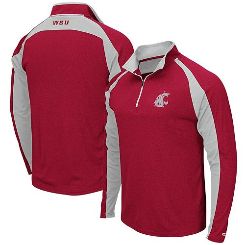 Men's Colosseum Heathered Crimson Washington State Cougars The J. Peterman Quarter-Zip Pullover Jacket