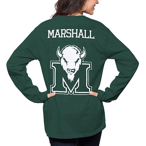 Women's Pressbox Green Marshall Thundering Herd The Big Shirt Oversized Long Sleeve T-Shirt