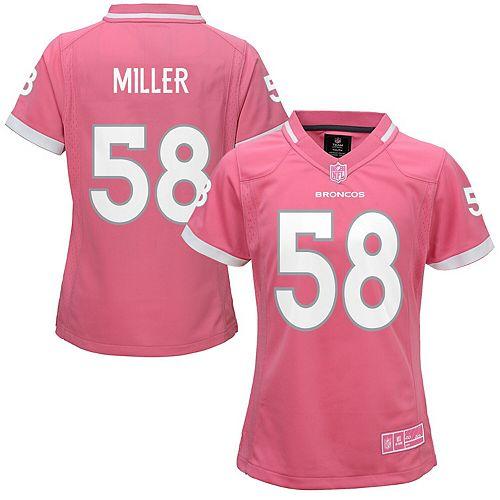 Girls Youth Von Miller Pink Denver Broncos Bubble Gum Jersey