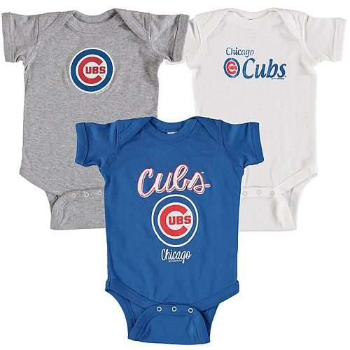 Infant Soft as a Grape Royal Chicago Cubs 3-Pack Rookie Bodysuit Set