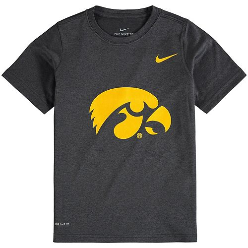 Youth Nike Anthracite Iowa Hawkeyes Logo Legend Performance T-Shirt