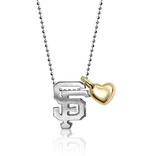 Women's Alex Woo San Francisco Giants Little MLB Sterling Silver Necklace with Mini Gold Heart Addition