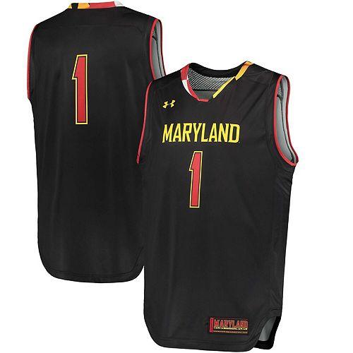 Men's Under Armour #1 Black Maryland Terrapins Replica Basketball Performance Jersey