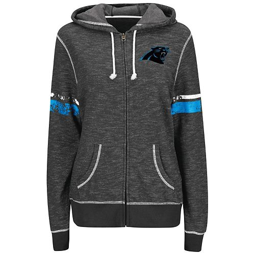 Women's Majestic Black Carolina Panthers Athletic Tradition Full-Zip Hoodie